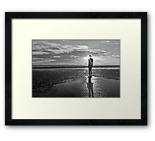 Crosby Beach Iron Man Sunset Black and White Framed Print