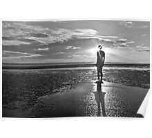 Crosby Beach Iron Man Sunset Black and White Poster