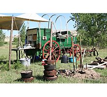 a cowboy chuckwagon on drive in wyoming Photographic Print