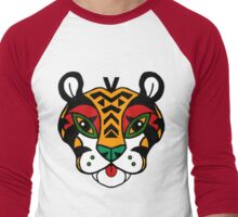 Aztec Tiger Totem Men's Baseball ¾ T-Shirt