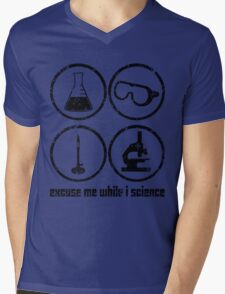 Excuse Me While I Science: Safety Goggles Required - Black Text Version Mens V-Neck T-Shirt