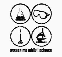 Excuse Me While I Science: Safety Goggles Required - Black Text Version Men's Baseball ¾ T-Shirt