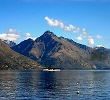Steamship on New Zealand Lake by jwwallace