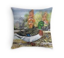 Mallards In The Snow Throw Pillow