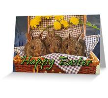 Happy Easter Dandelion Bunnies Greeting Card