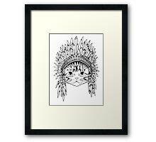 Cat with Headdress - white Framed Print