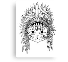 Cat with Headdress - white Canvas Print