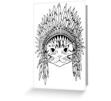 Cat with Headdress - white Greeting Card