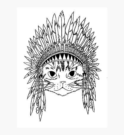 Cat with Headdress - white Photographic Print
