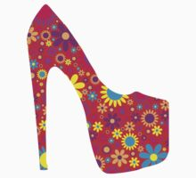 High Heel Shoe, Flowers - Red Yellow Blue  Baby Tee