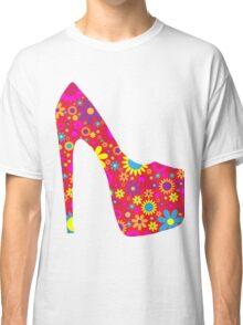 High Heel Shoe, Flowers - Red Yellow Blue  Classic T-Shirt