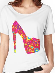 High Heel Shoe, Flowers - Red Yellow Blue  Women's Relaxed Fit T-Shirt