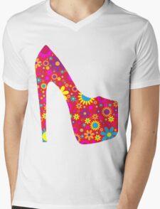High Heel Shoe, Flowers - Red Yellow Blue  Mens V-Neck T-Shirt