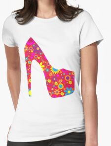 High Heel Shoe, Flowers - Red Yellow Blue  Womens Fitted T-Shirt