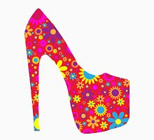 High Heel Shoe, Flowers - Red Yellow Blue  Unisex T-Shirt
