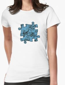 Jigsaw Puzzle Piece, Damask - Blue Black  Womens Fitted T-Shirt