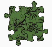 Jigsaw Puzzle Piece, Damask - Green Black  Kids Clothes