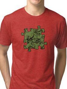 Jigsaw Puzzle Piece, Damask - Green Black  Tri-blend T-Shirt