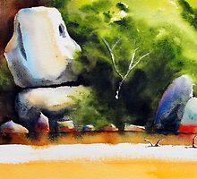 Whale Rock in watercolour by Jenny Barnes