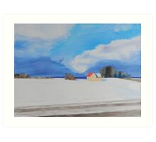Lake Michigan Farmhouse Winter Art Print