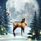 Buck Deer Magical Winter Moon Greeting Card  by xgdesignsnyc
