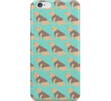 Teal French Bull Dogs Pattern 2 iPhone Case/Skin