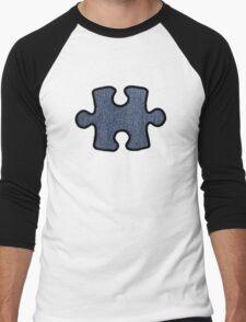Jigsaw Puzzle Piece, Denim (Twill Textile) - Blue Men's Baseball ¾ T-Shirt