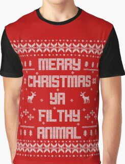 Merry Christmas You Filthy Animal (White Type) Graphic T-Shirt