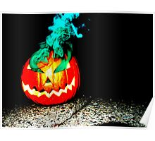 Smoke Bomb Pumpkin - Green Poster
