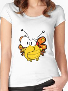 Cartoon butterfly Women's Fitted Scoop T-Shirt