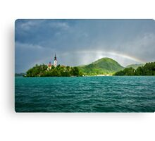 Rainbow over Lake Bled Canvas Print