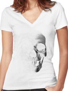 Grunge Skull - Light Women's Fitted V-Neck T-Shirt