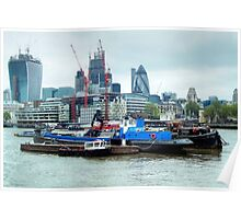 Barges On River Thames Poster