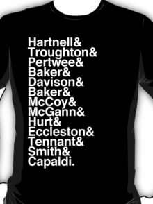 All Doctor - Hartnell to Capaldi, With Hurt T-Shirt