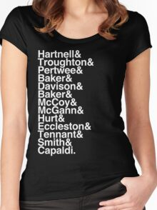 All Doctor - Hartnell to Capaldi, With Hurt Women's Fitted Scoop T-Shirt