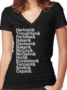 All Doctor - Hartnell to Capaldi, With Hurt Women's Fitted V-Neck T-Shirt