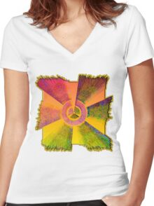 0005 Abstract Design Women's Fitted V-Neck T-Shirt