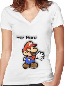 Mushroom Kingdom Couple: Mario Shirt Women's Fitted V-Neck T-Shirt