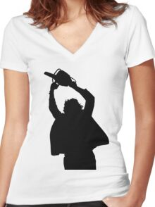 Chainsaw massacre silhouette Women's Fitted V-Neck T-Shirt