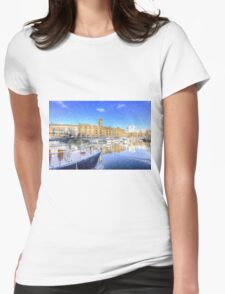 St Katherines Dock London Snow Womens Fitted T-Shirt