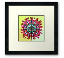 Abstract Spiked Flower Wheel in Blue, Yellow, Pink, Purple Framed Print
