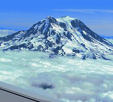 Rainier's Summit Above the Clouds by M-EK