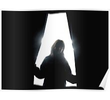 Behind curtains girl Poster
