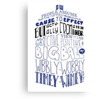Doctor Who Timey Wimey Tardis Lettering Canvas Print