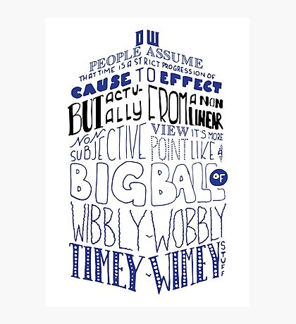 Doctor Who Timey Wimey Tardis Lettering Photographic Print