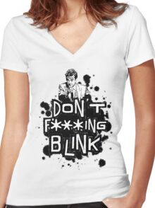 peter capaldi don't blink (clean) Women's Fitted V-Neck T-Shirt