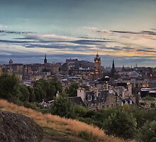 Panoramic Sunset over the City of Edinburgh. Scotland by Miles Gray