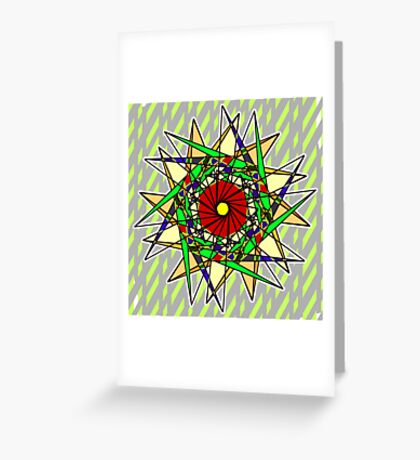 Abstract Pinwheel Triangles in Orange, Green, Red Greeting Card