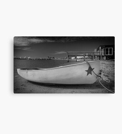 White Boat Black and White Photo Canvas Print