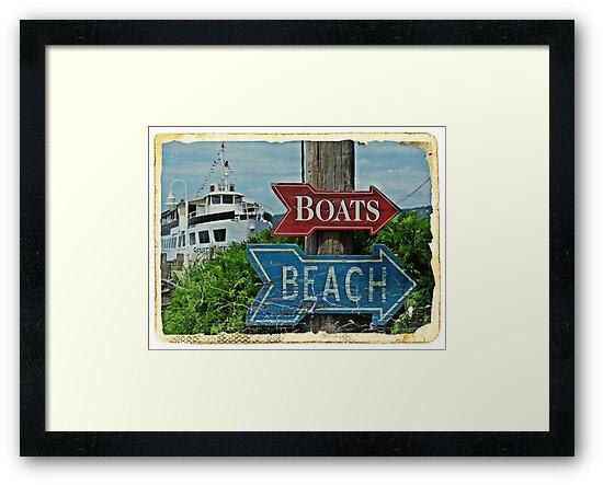 Boats and Beach No. 1 nautical art beach themed bathroom art by jemvistaprint